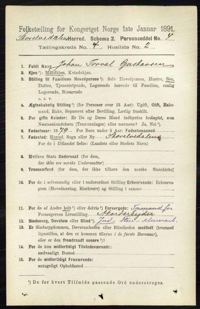 Image from object titled Folketelling 1891 - Stor-Elvdal - personsedler - side 1432