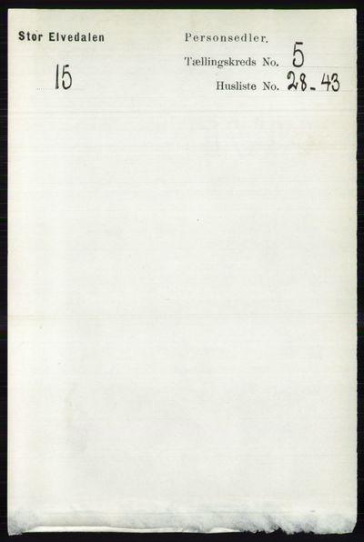 Image from object titled Folketelling 1891 - Stor-Elvdal - personsedler - side 1898