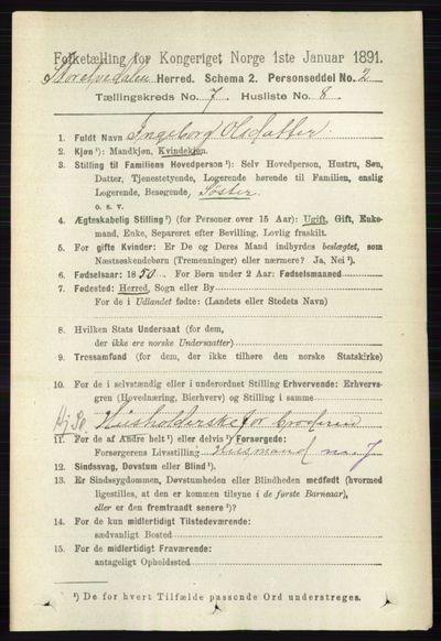 Image from object titled Folketelling 1891 - Stor-Elvdal - personsedler - side 2701