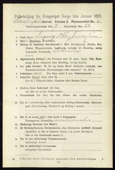 Image from object titled Folketelling 1891 - Stor-Elvdal - personsedler - side 2831