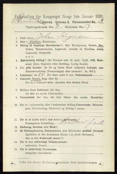 Image from object titled Folketelling 1891 - Stor-Elvdal - personsedler - side 3121