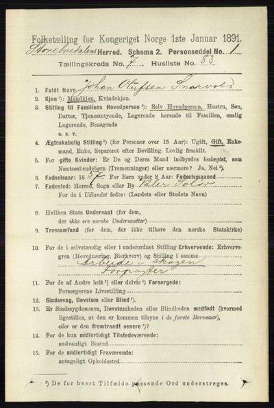 Image from object titled Folketelling 1891 - Stor-Elvdal - personsedler - side 3310