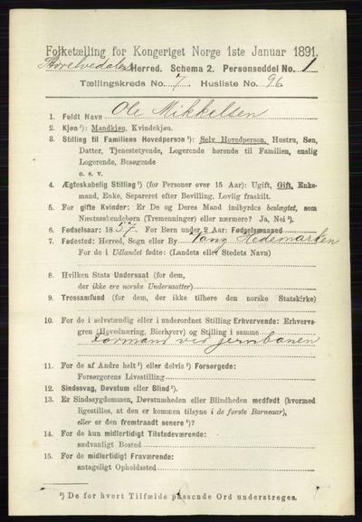 Image from object titled Folketelling 1891 - Stor-Elvdal - personsedler - side 3393