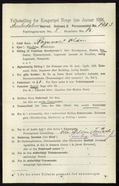 Image from object titled Folketelling 1891 - Stor-Elvdal - personsedler - side 3563