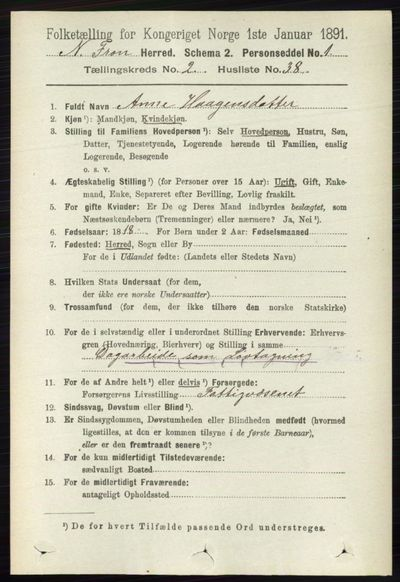 Image from object titled Folketelling 1891 - Nord-Fron - personsedler - side 587