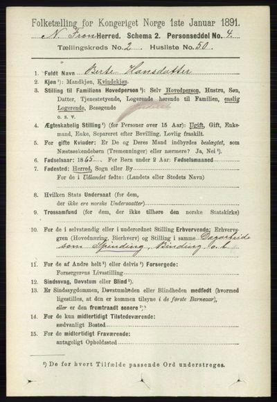 Image from object titled Folketelling 1891 - Nord-Fron - personsedler - side 654