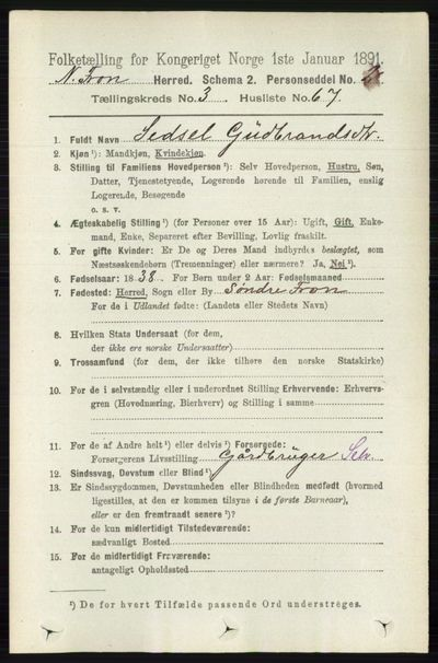 Image from object titled Folketelling 1891 - Nord-Fron - personsedler - side 1240