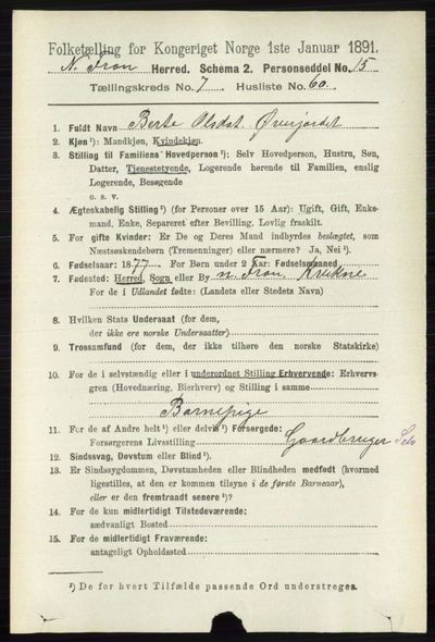 Image from object titled Folketelling 1891 - Nord-Fron - personsedler - side 3191