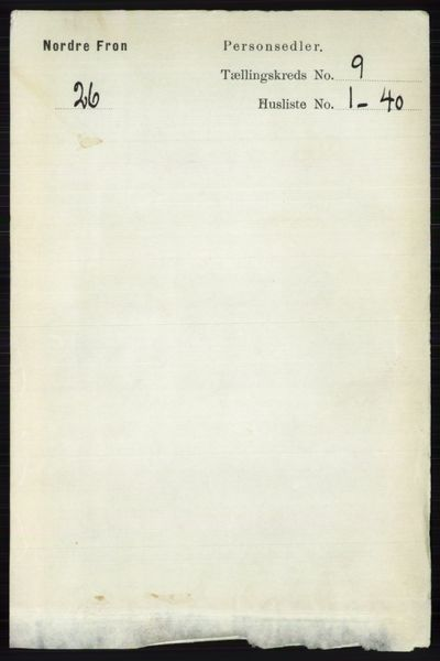 Image from object titled Folketelling 1891 - Nord-Fron - personsedler - side 3713