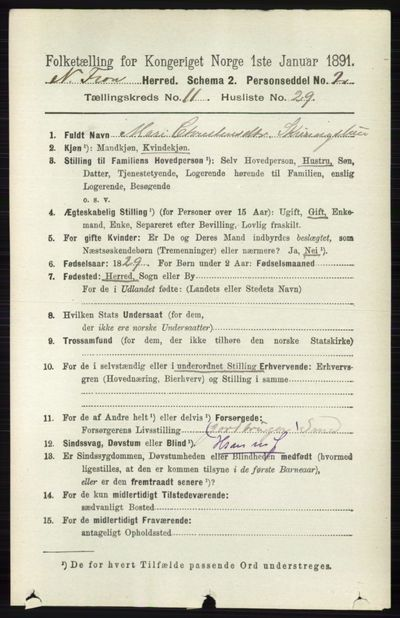 Image from object titled Folketelling 1891 - Nord-Fron - personsedler - side 4959