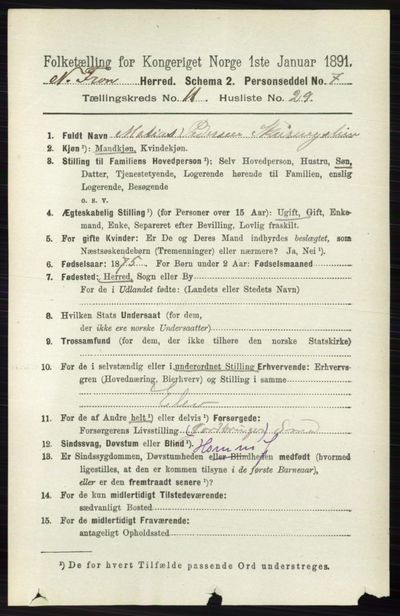 Image from object titled Folketelling 1891 - Nord-Fron - personsedler - side 4964