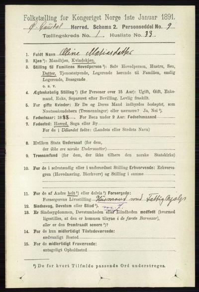 Image from object titled Folketelling 1891 - Østre Gausdal - personsedler - side 417
