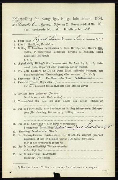 Image from object titled Folketelling 1891 - Østre Gausdal - personsedler - side 1403