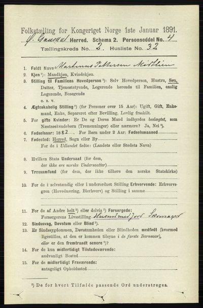 Image from object titled Folketelling 1891 - Østre Gausdal - personsedler - side 1415