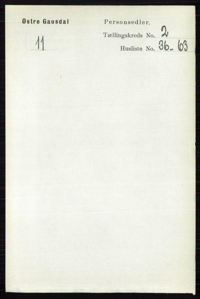 Image from object titled Folketelling 1891 - Østre Gausdal - personsedler - side 1443