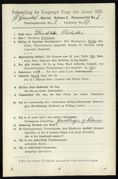 Image from object titled Folketelling 1891 - Østre Gausdal - personsedler - side 2345