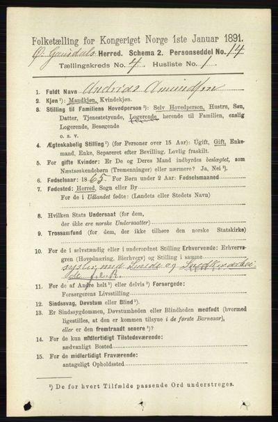 Image from object titled Folketelling 1891 - Østre Gausdal - personsedler - side 2460