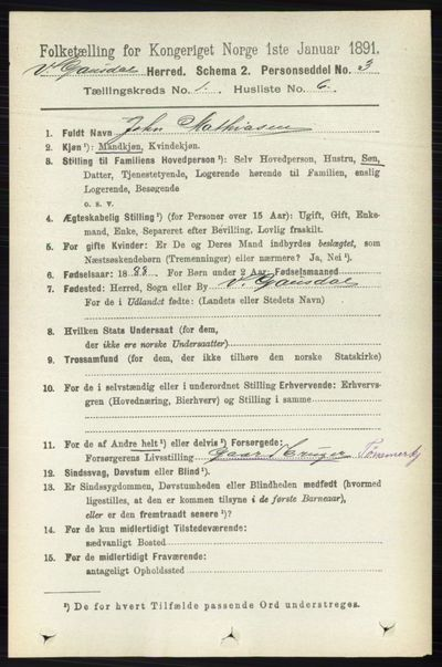 Image from object titled Folketelling 1891 - Vestre Gausdal - personsedler - side 107