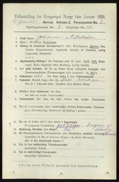 Image from object titled Folketelling 1891 - Vestre Gausdal - personsedler - side 735