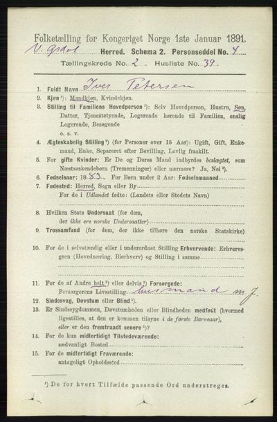 Image from object titled Folketelling 1891 - Vestre Gausdal - personsedler - side 803