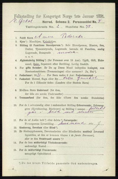Image from object titled Folketelling 1891 - Vestre Gausdal - personsedler - side 806