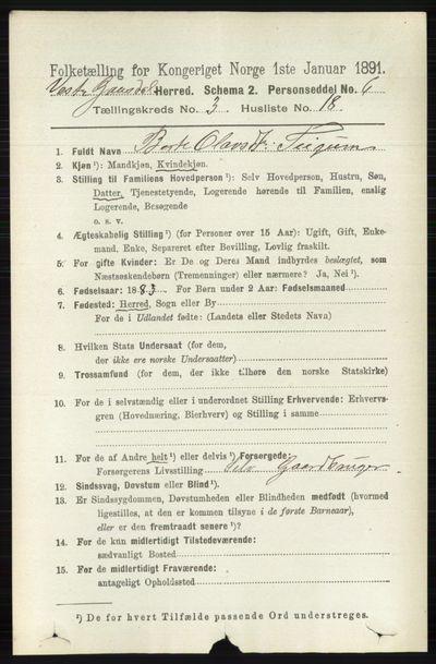 Image from object titled Folketelling 1891 - Vestre Gausdal - personsedler - side 1361