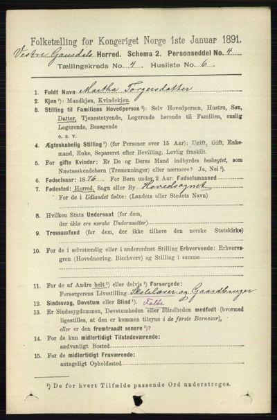 Image from object titled Folketelling 1891 - Vestre Gausdal - personsedler - side 1743