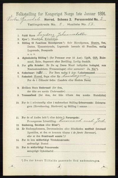 Image from object titled Folketelling 1891 - Vestre Gausdal - personsedler - side 2036