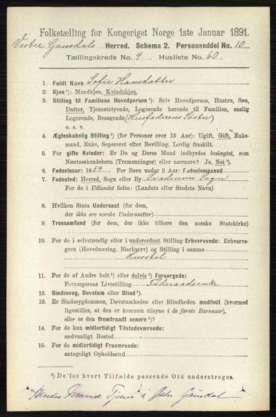 Image from object titled Folketelling 1891 - Vestre Gausdal - personsedler - side 2065