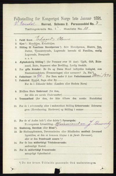 Image from object titled Folketelling 1891 - Vestre Gausdal - personsedler - side 2225