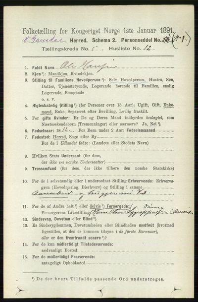Image from object titled Folketelling 1891 - Vestre Gausdal - personsedler - side 2235
