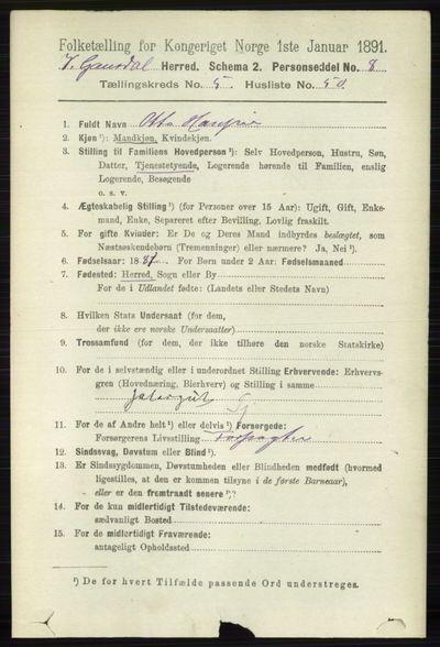 Image from object titled Folketelling 1891 - Vestre Gausdal - personsedler - side 2464