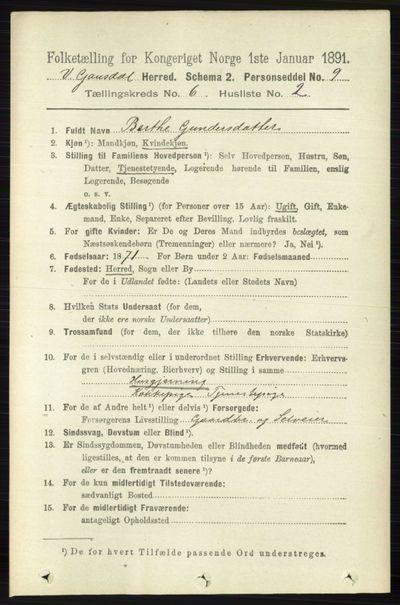 Image from object titled Folketelling 1891 - Vestre Gausdal - personsedler - side 2567