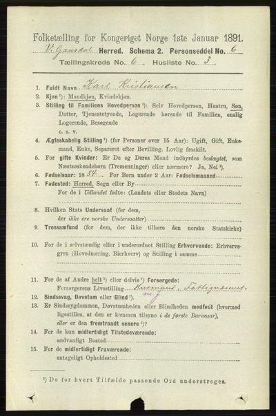 Image from object titled Folketelling 1891 - Vestre Gausdal - personsedler - side 2576