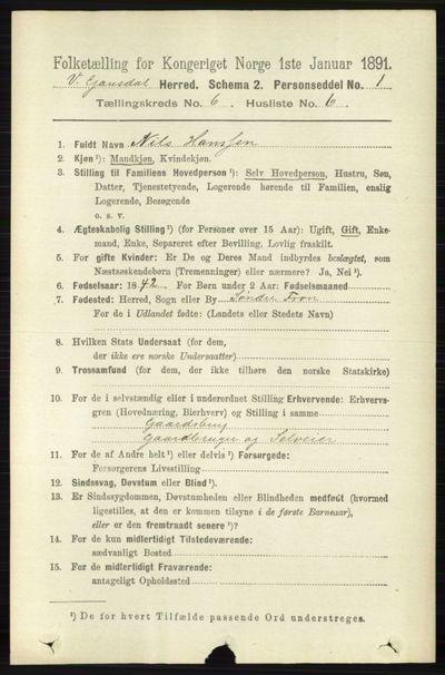 Image from object titled Folketelling 1891 - Vestre Gausdal - personsedler - side 2593