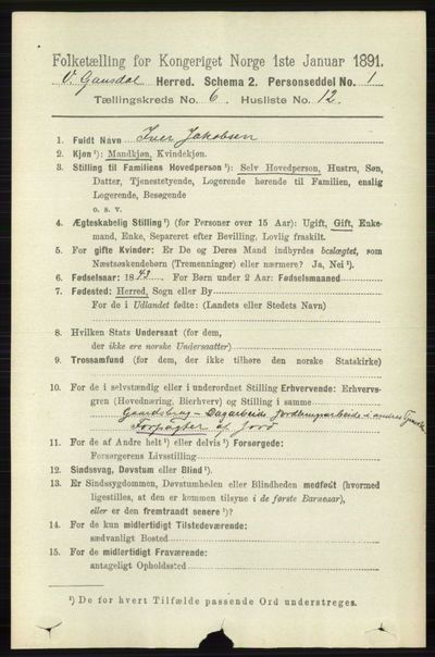 Image from object titled Folketelling 1891 - Vestre Gausdal - personsedler - side 2630