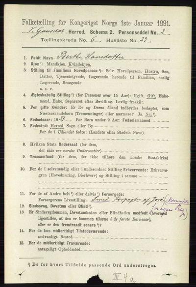 Image from object titled Folketelling 1891 - Vestre Gausdal - personsedler - side 2681