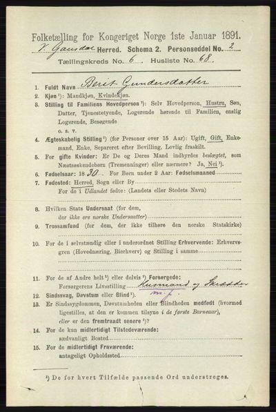 Image from object titled Folketelling 1891 - Vestre Gausdal - personsedler - side 2910
