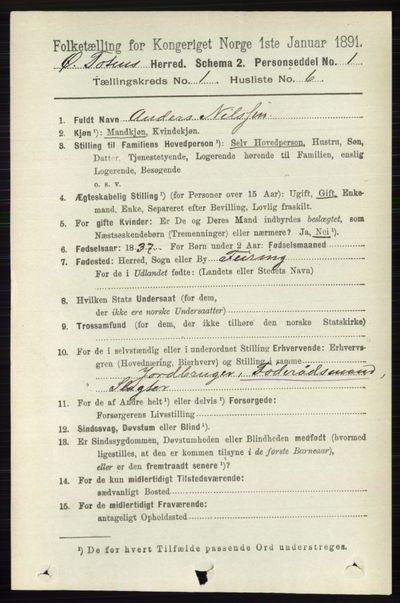 Image from object titled Folketelling 1891 - Østre Toten - personsedler - side 177