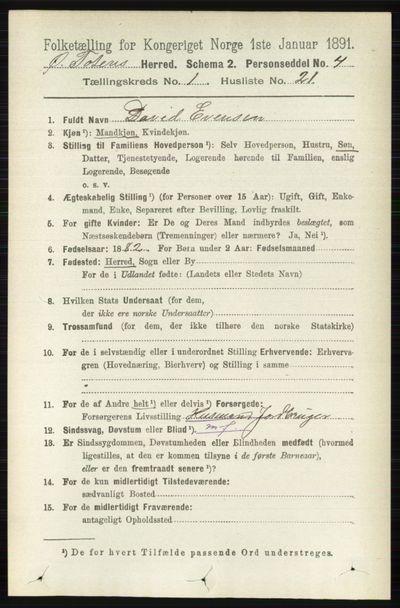 Image from object titled Folketelling 1891 - Østre Toten - personsedler - side 275