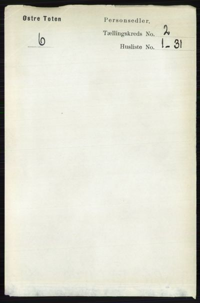 Image from object titled Folketelling 1891 - Østre Toten - personsedler - side 793