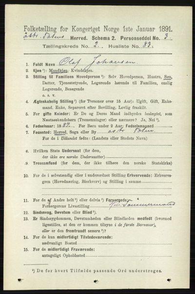 Image from object titled Folketelling 1891 - Østre Toten - personsedler - side 1273