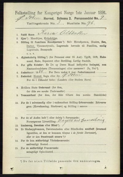 Image from object titled Folketelling 1891 - Østre Toten - personsedler - side 2110