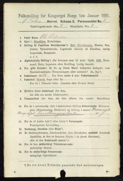 Image from object titled Folketelling 1891 - Østre Toten - personsedler - side 2414
