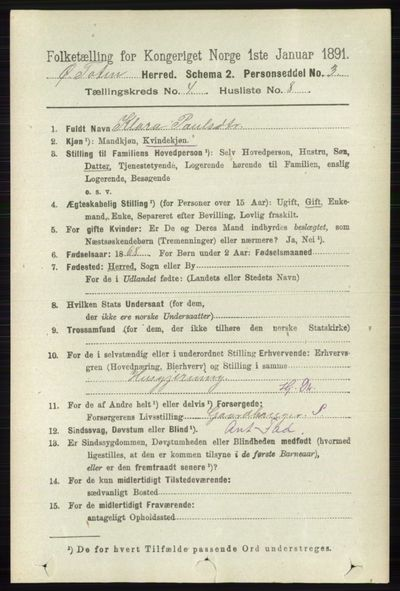 Image from object titled Folketelling 1891 - Østre Toten - personsedler - side 2431