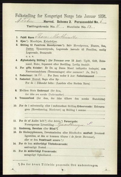 Image from object titled Folketelling 1891 - Østre Toten - personsedler - side 2685