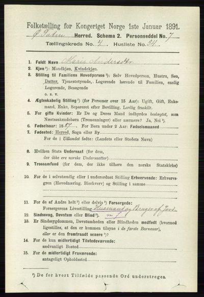 Image from object titled Folketelling 1891 - Østre Toten - personsedler - side 2694