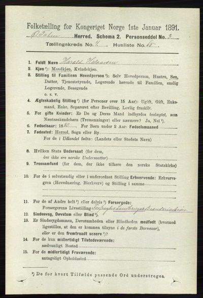 Image from object titled Folketelling 1891 - Østre Toten - personsedler - side 2752