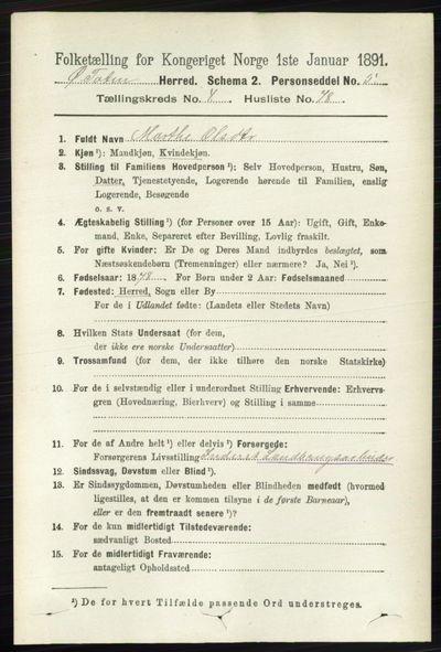 Image from object titled Folketelling 1891 - Østre Toten - personsedler - side 2846