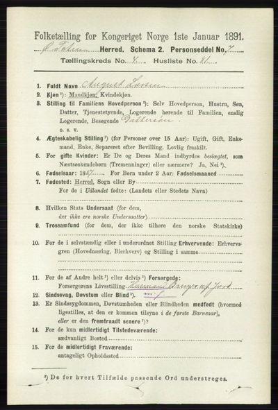 Image from object titled Folketelling 1891 - Østre Toten - personsedler - side 2866